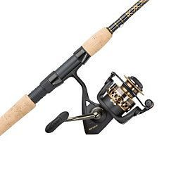 $130 - Our most popular spinning combo, the PENNBattle II features a FullMetal Body, side plate, and rotor for exceptionaldurability. Themachined and anodized aluminum Superline Spool allowsanglers to tiesuperlines directly to the spool without backing. The HT-100™ dragsystemprovides smooth drag under heavy loads. Matched with the graphitecomposite Battle rod with aluminum oxideguides, no fish stands achance.