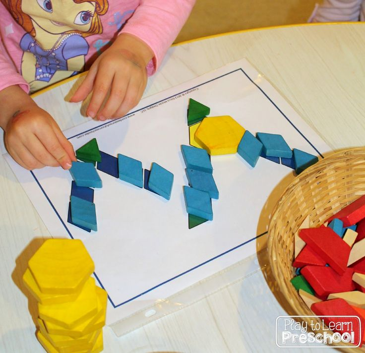 using pattern blocks for letter of the week spelling our names from play to learn preschool. Black Bedroom Furniture Sets. Home Design Ideas