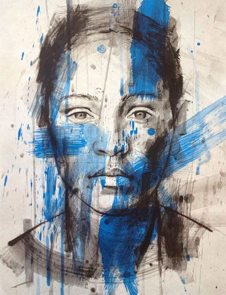 South African Artist. Lionel Smit. In this piece of painting, Lionel Smit sketches portraits of a person with simplicity using black and white as a base but creates an interesting piece of art by using strokes of a vibrant blue paint over.
