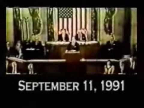 Video: 10 Years Before 9/11/01 Watch To The End!  --  Uploaded on Apr 4, 2009 Watch the whole clip to get a complete understanding of the message trying to be sent. 18 years before Obama, Bush was announcing the New World Order, on Sept. 11 1991 he gave his New World Order speech, 10 years later with the help of the Zionist leaders, they dropped the World Trade center. Now it's the world economy's turn to drop, with Barack Obama aka Mr Wall St heading the requests from the Corporation of…