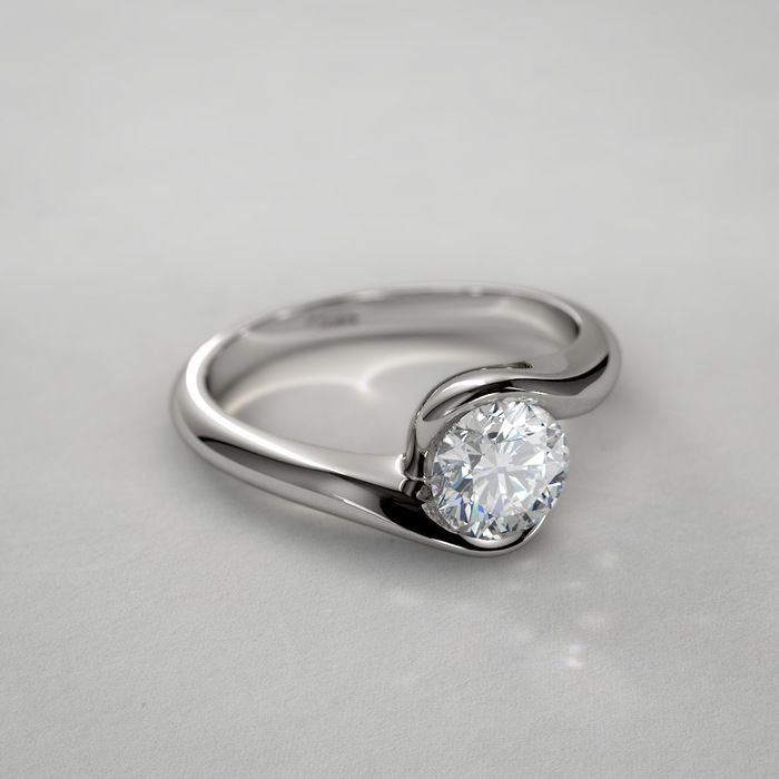 Half Bezel Diamond Engagement Ring in 14k White Gold