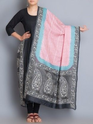 Pink-Black Tussar Kantha Embroidered Dupatta