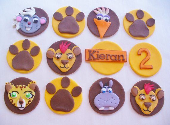 Pleasant 12 Lion Guard Edible Fondant Personalized Cupcake Toppers Com Funny Birthday Cards Online Barepcheapnameinfo