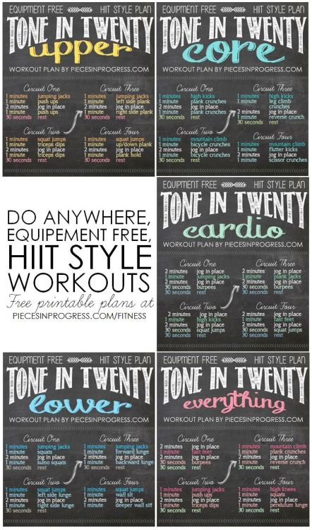 Tone in Twenty Workouts- 5 do anywhere HIIT style plans! WOW! This is perfect! Less time, More Results! YES! Start this tonight! More tips on getting thinner faster while keeping your skin tight.. read here: https://victoriajohnson.wordpress.com