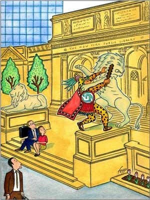 Um guerreiro yaguareté/ocelotl encara o leão da biblioteca de Nova Iorque.