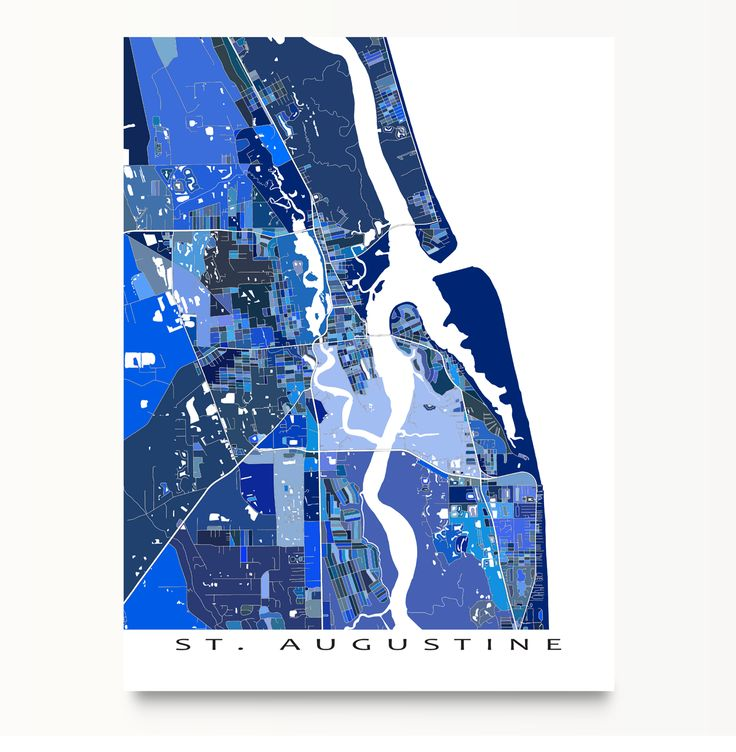 St. Augustine #map art print featuring the city of St. Augustine, #Florida, USA. #StAugustine