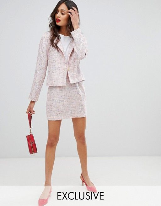 b9f49a3b09b6 UNIQUE21 tweed fitted blazer & mini skirt in tweed two-piece | ASOS ...