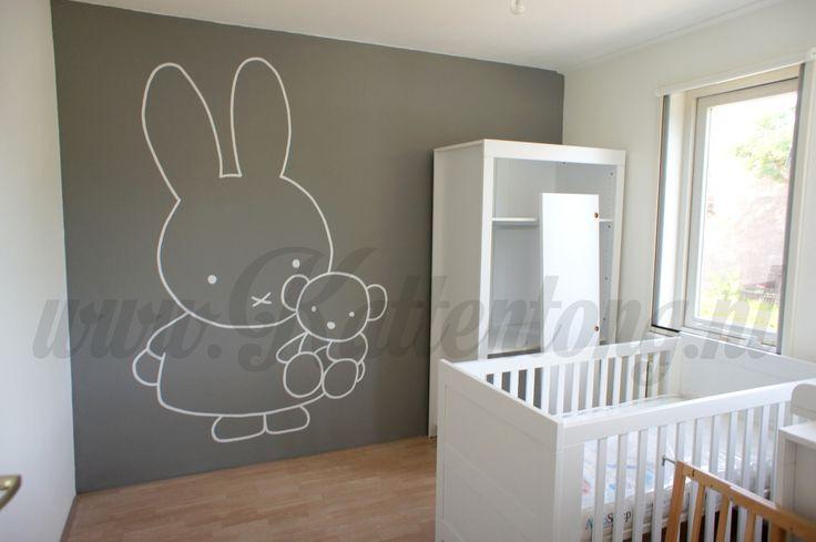Nijntje muurschildering voor babykamertje! Door Kattentong Decoratiewerken.