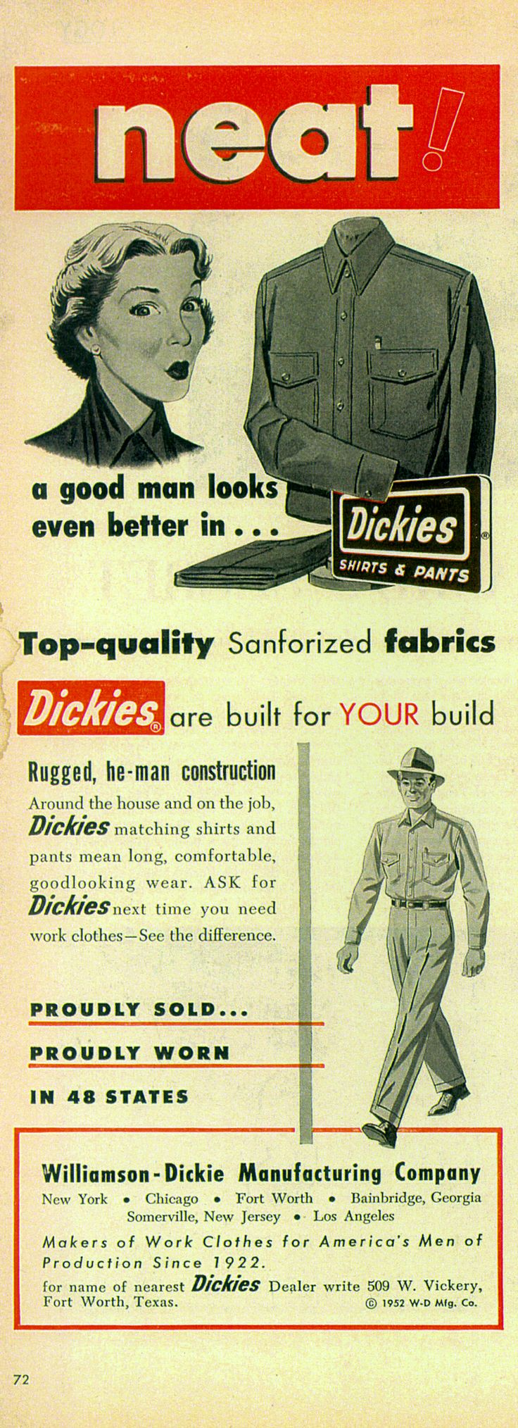 Vintage 1953 advertisement for dickies menswear http www dickiesstore co