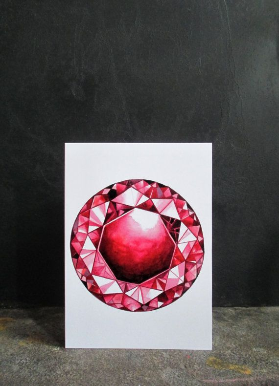 Greeting Card Ruby  Silver Envelope by TigerlilyDesignStore