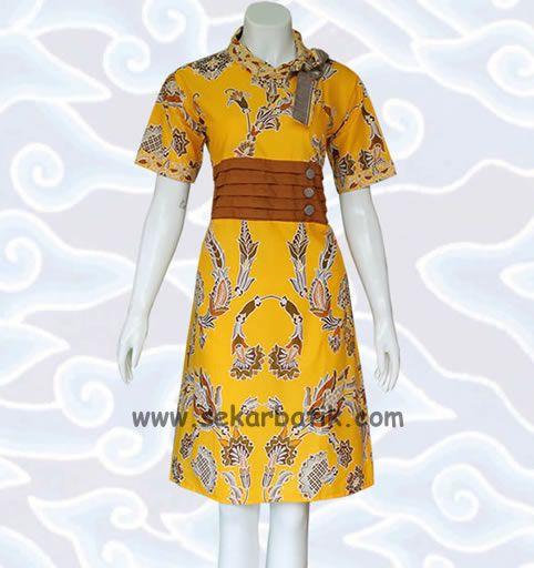 dress batik kerja kuning BD39 di katalog http://sekarbatik.com/dress-batik/