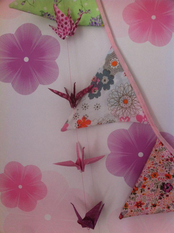 Origami et guirlande de fanions en tissu