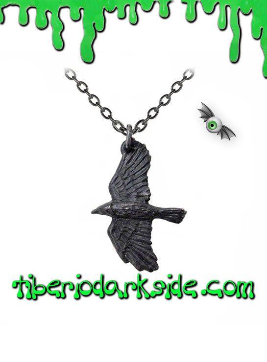 RAVENINE PENDANT  Colgante de cuervo negro, de Alchemy Gothic. Símbolo de protección en la mitologçia nórdica. Material: peltre inglés (aleación de estaño y cobre).  TALLA: ÚNICA  TAMAÑO: 2,2 cm ancho x 3,2 cm alto