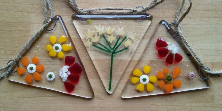 Fused glass floral bunting, garden bunting, suncatcher bunting, bunting with cowparsley and summer flowers, handmade glass bunting. by WhimsicalFusing on Etsy