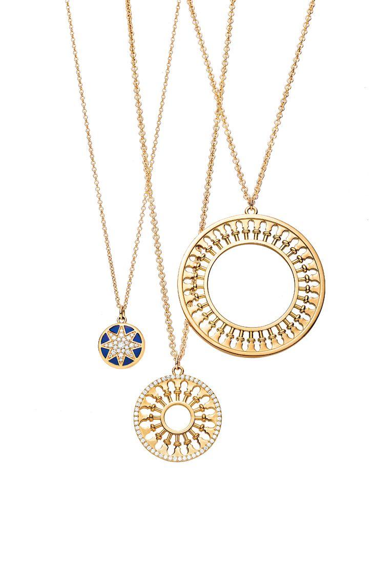 Paloma's Venezia Stella pendants in 18k gold, from left: pendant with enamel finish and diamonds, medallion pendant with diamonds and large medallion pendant. #TiffanyPinterest