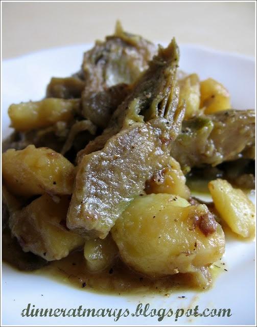 artichokes, potatoes and leeks