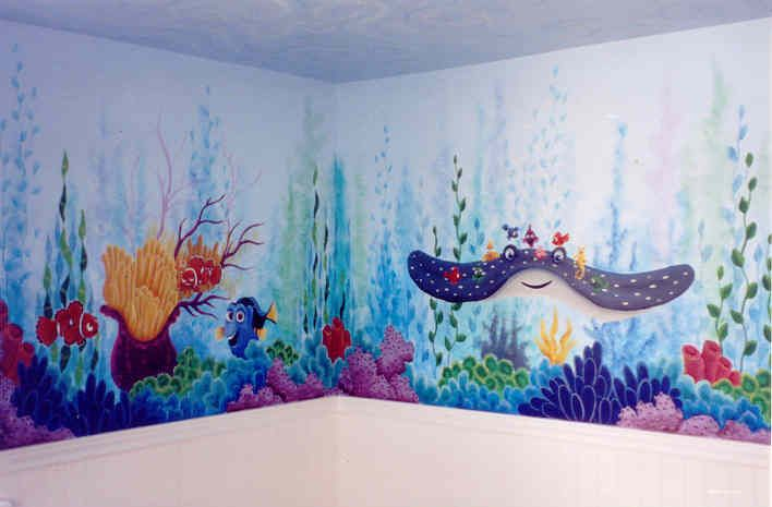 Finding nemo ocean mural for the home pinterest for Disney wall stencils for painting kids rooms