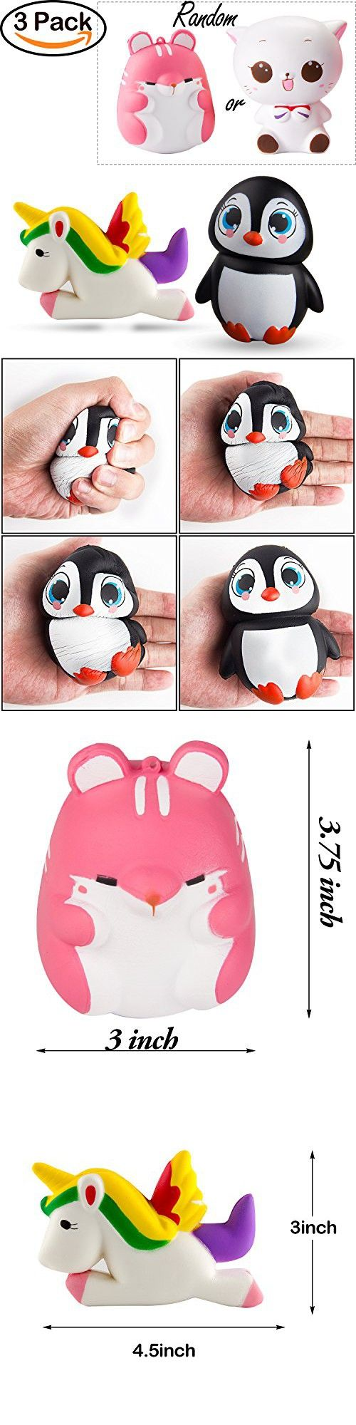 BeYumi Slow Rising Toy, 3 Pack of Kawaii Animals Squishy Toy, Cream Scented Simulation Cute Animals Toys Gift for Kids Lovely Stress Relief Toy