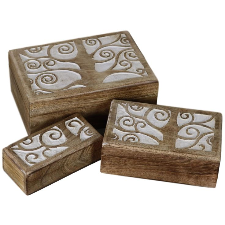 Tree of Life Wood Box - Set of 3