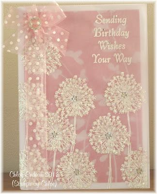 'Stamps by Chloe' dandelion and Wow Sparkling Snow embossing glitter