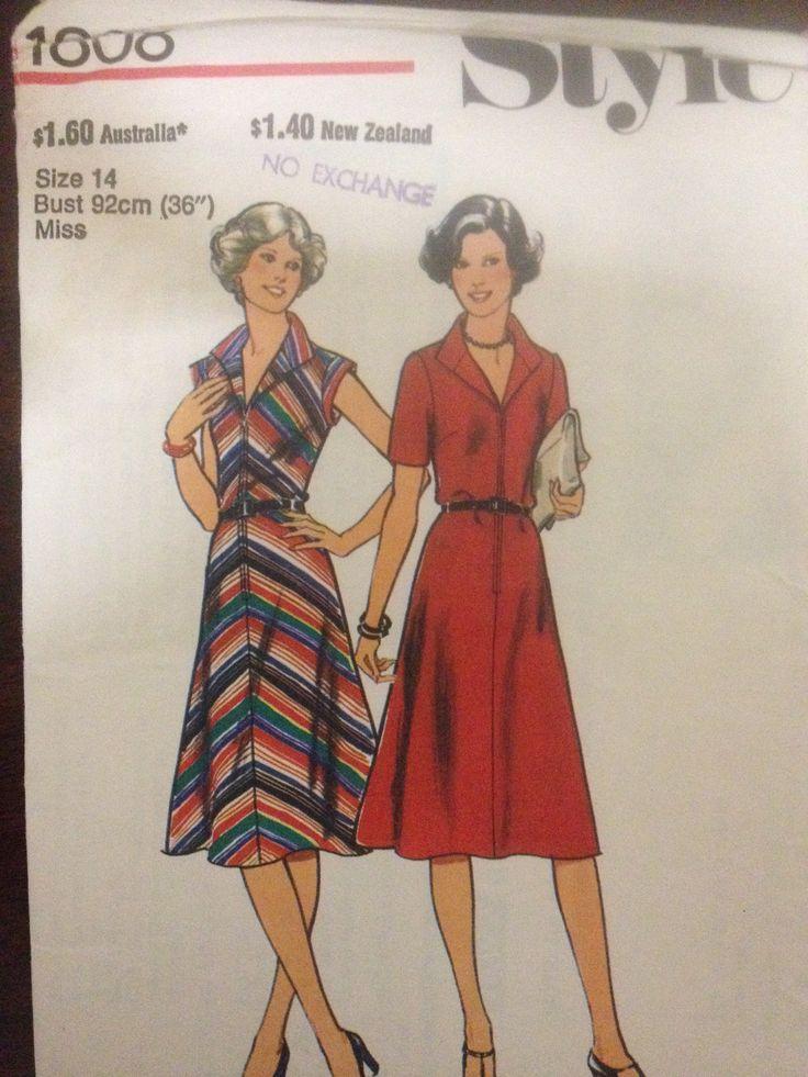 Style 1808, Misses bias dress, Sz 14 (36), 1978