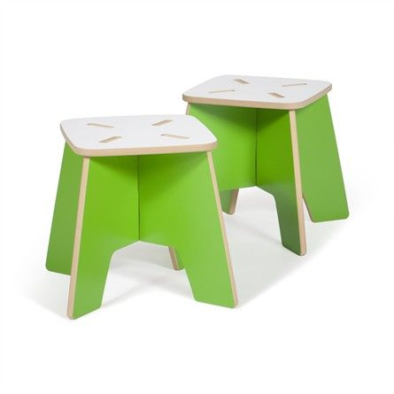 The eco-friendly Green Kids Stool - Set of 2 will add the perfect modern touch to your child's room!