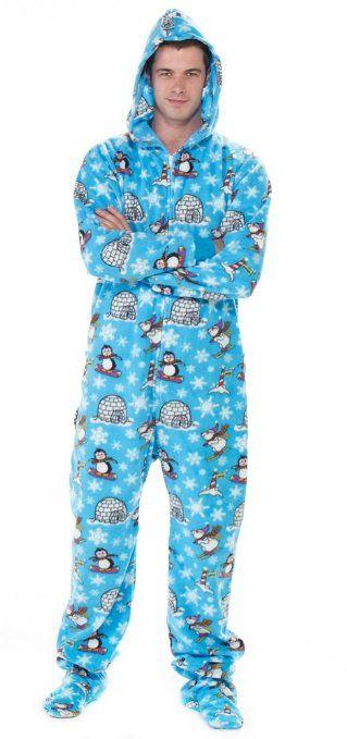 Footed #Pajamas Winter Wonderland Adult Hoodie Drop Seat