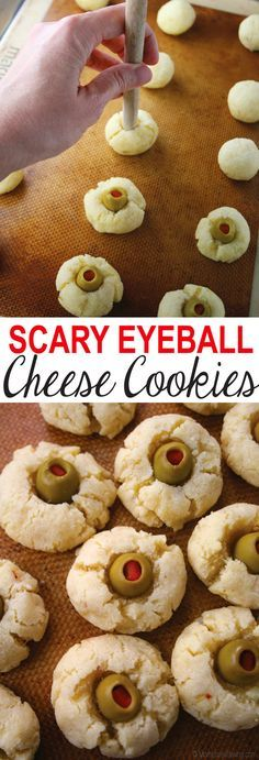 Scary Eyeball Cheese Cookies are great for a Halloween party, plus they're gluten free! Get the recipe on MomLovesBaking.com