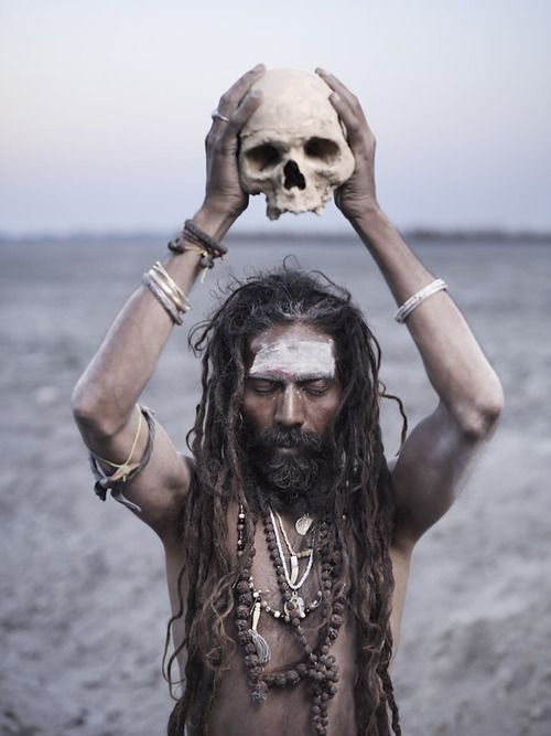 Joey L. Holy Men. Aghora Puja. The Aghori have a profound connection with the dead. Death is not a fearsome concept, but a passing from the world of illusion. Varanasi, India.