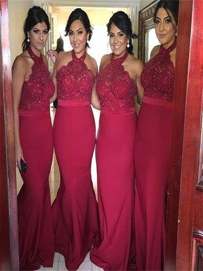 Red Mermaid bridesmaid dresses, long Halter bridesmaid dresses, chiffon bridesmaid dresses, formal bridesmaid dresses,…