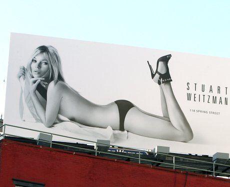 Kate Moss in knickers and heels in Stuart Weitzman billboard advert