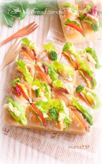 サンドイッチは、年齢層にかかわらずとても喜ばれます。ワインなどのおつまみにもなる応用がききやすいメニューですね。いつもとは少し違う、ちぎりパンサンドイッチもおすすめです♪