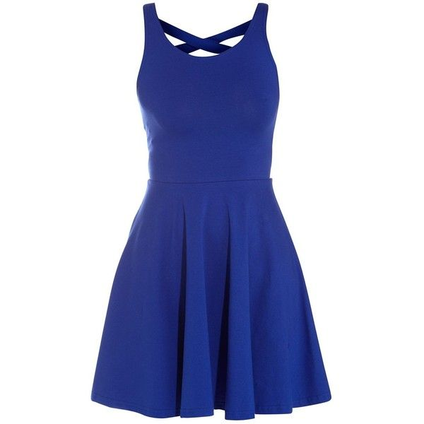 Royal Blue Cross Back Skater Dress (£11) ❤ liked on Polyvore featuring dresses, vestidos, blue, short dresses, criss cross back dress, cross back dress, short blue dresses, cross back skater dress and electric blue dress