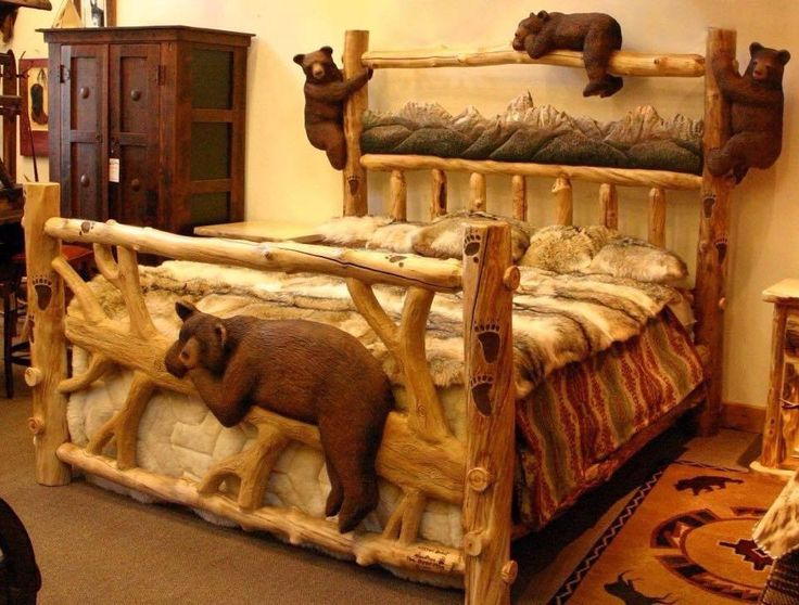 Best 25 log bed ideas on pinterest log bed frame for Rustic bear home decor
