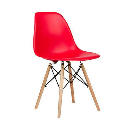 Midcentury Modern Style Molded Plastic Dowel Dining Side Chair in Natural/Red