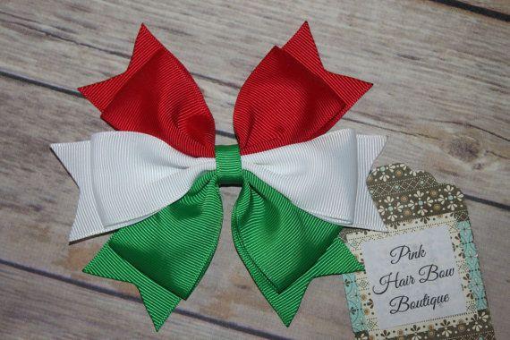 Arco de pelo italiana arco del pelo de Navidad rojo blanco y