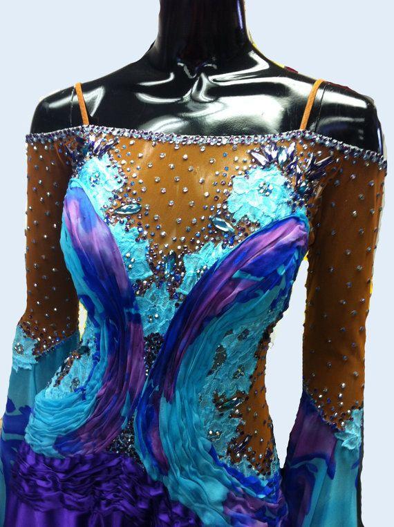 Blue Ballroom Dance  Dress by DesignByNatasha on Etsy, $2119.00