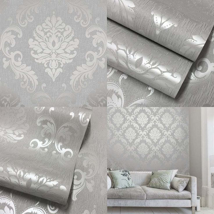 Henderson Interiors Chelsea Glitter Damask Wallpaper Soft Grey Silver - H980504