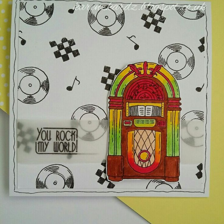 For The Love of Stamps Rock n Roll Jukebox.  #fortheloveofstamps #hunkydorycrafts #rocknroll #jukebox #music #stamping #stamps #kuretakezig #vellum #cardmaking #cards