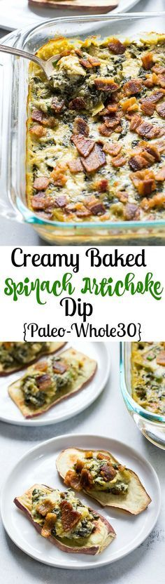 Creamy Baked Spinach Artichoke Dip that you won't believe is dairy free! Super creamy and packed with flavor, this dip is great for veggies, chips, and as a topping or spread for potatoes, chicken and burgers. Paleo & Whole30 compliant.