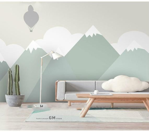 Hand Painted Green Geometric Nursery Children Wallpaper Wall Mural, Geometric Mountain Kid Children