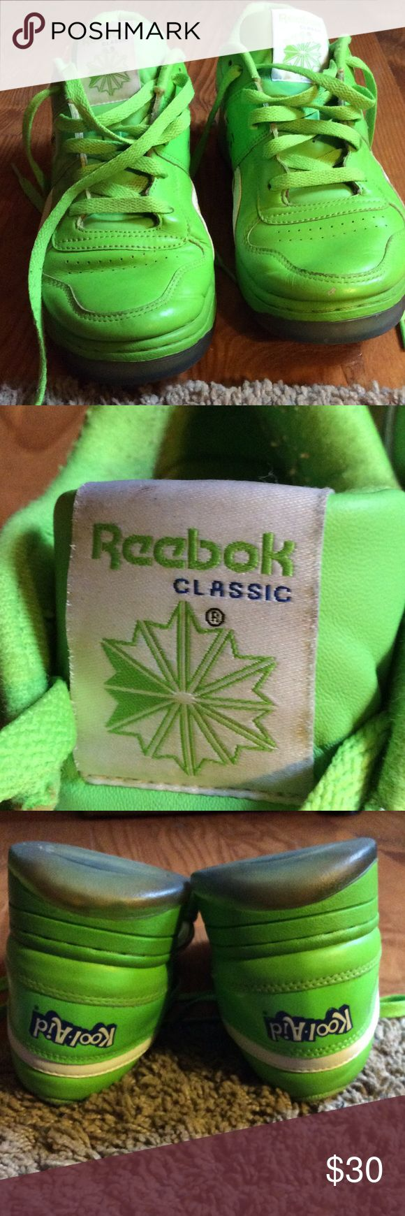 Kool Aid Reebok Classic Lime Green Reebok sneakers have been worn however still have a lot more wear.. if you need anymore pictures of this sneaker please feel free to ask... Reebok classic Shoes Athletic Shoes