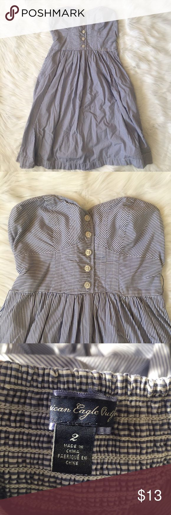 Striped American Eagle Dress Beautiful American Eagle blue and white striped dress. Can be either strapless or straps can be attached. Size 2. Feel free to ask any additional questions.   💕 please make offers through offer button 💰 bundle for a 20% off discount  🚬🐶 smoke & pet free home  🚫 sorry no trades American Eagle Outfitters Dresses Strapless