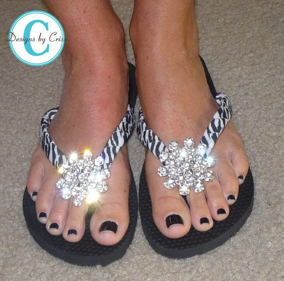 Rhinestone Zebra Flip Flops Bling  Buckle Jewel Bubbles Silver and Black Mom Girl Boutique Ribbon Flip Flops choose your ribbon color. $33.00, via Etsy.