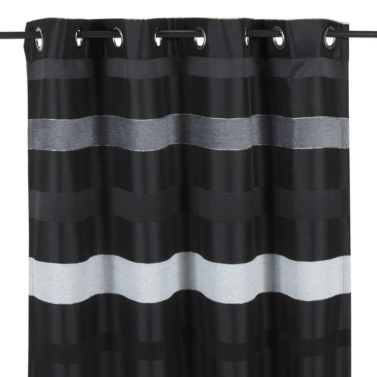 Rideau à œillets noir à rayures en tissu à reflets Noir / blanc / gris - Edimbourg - Les rideaux - Textiles et tapis - Salon et salle à manger - Décoration d'intérieur - Alinéa