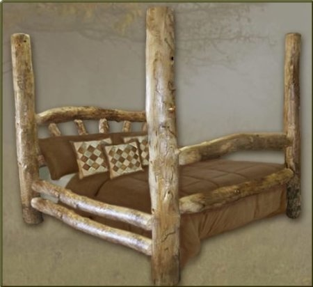 Queen size aspen poster log bed furniture for Aspen logs for decoration