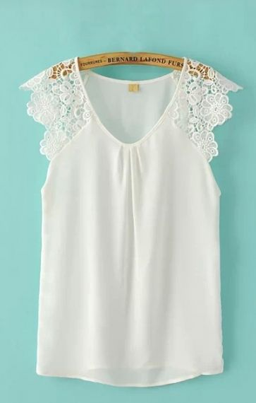 White V Neck Lace Sleeve Tee