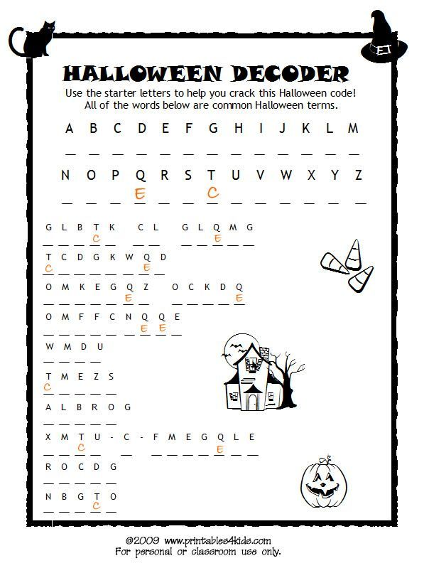 Halloween Code Breaker, Cryptoquiz, Brain Teaser : Printables for Kids – free word search puzzles, coloring pages, and other activities: