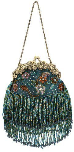 Green Vintage Flowers Seed Bead Flapper Clutch Evening Handbag, Clasp Purse w/Hidden Chain, via MG Collection.