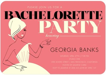 Retro Chic - Signature White Bachelorette Party Invitations - Baumbirdy - Wild Strawberry - Pink : Front